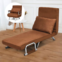 Folding Sofa Bed Sleeper Chair Convertible Lounger 5 Position Home Brown