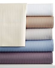 Charter Club 400 TC Tailored Fit Stripe FULL Sheet Set Water BLUE P1179