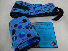 Bubbles Sleazy Sleepwear Horse Polo Fleece Leg Wraps Velcro Pair Tack New Blues