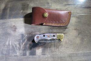 Beautiful Damascus folding blade knife grey bone stocks leather sheath hand made