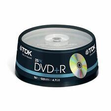 1x25 TDK DVD+R Rohlinge WriteOnce Discs 4.7GB 1x16x Cakebox t19443 NEU 005-207