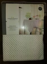 """Threshold Oblong Tablecloth 60""""X104"""" White w/ Silver"""
