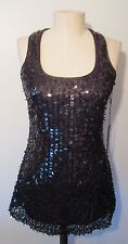 Willi Smith NWT Black Sequin Stretch Racer Tank Top Size S
