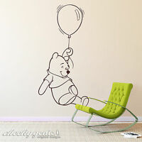Winnie The Pooh with Balloon Childs Bedroom Nursery Vinyl Wall Art Sticker Decal