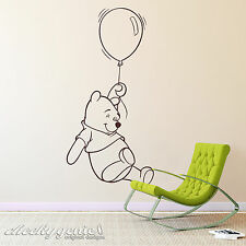 Winnie The Pooh With Balloon Childs Bedroom Nursery Vinyl Wall Art Sticker Decal White Large