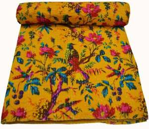 Cotton Kantha Bed Cover Indian Bedspread Throw Queen Quilt Reversible Bird Print