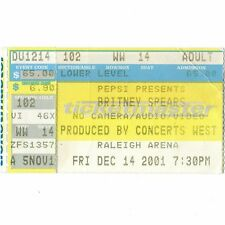 BRITNEY SPEARS Concert Ticket Stub RALEIGH NC 12/14/01 DREAM WITHIN A DREAM TOUR