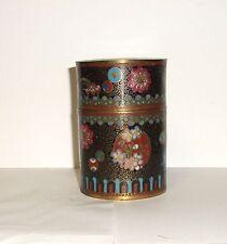 RARE OLD JAPANESE CLOISONNE ENAMEL CANISTER CADDY JAR BOX