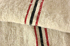 Vintage homespun grain sack fabric hemp Washed 3.5Yds Red + Black rare fabric