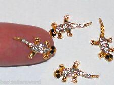 1pc Glass miniature dollhouse tiny little golden lucky crystal Lizard Geckos