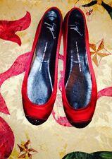 NIB Giuseppe Zanotti Red Silk Ballerina Flats Size 11 Italian 41