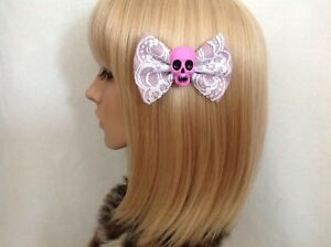 Pastel purple skull hair bow clip rockabilly pin up girl lace punk gothic pinup