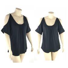 Seven7 Luxe Top Women Plus 3X Cotton Blend Round Neck Cold Shoulder Short Sleeve