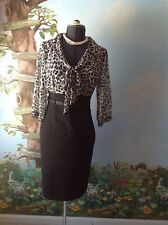 White House Black Market Black Animal Print 3/4 Sleeve Women Dress Size 8
