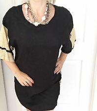 ANIMALE BY JACQUES RJC WOMENS TOP COMFORT PRINT TUNIC RAYON BLACK BEIGE SZ L