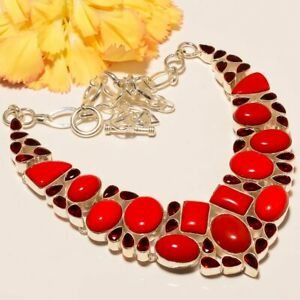 "Italian Coral & Garnet Gemstone 925 Sterling Silver Necklace 17.99"" JJN-3512"