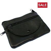 Men's Ladies Soft Black Leather Purse Coins Keys Money Holder Pouch Zip Wallet