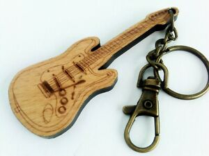 Wood Electric Guitar Key Chain or Dangle Stratocaster fob musician gift  NEW