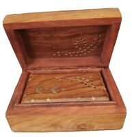 Trinket Boxes Jewelry Wood Brass Inlay Nesting Hinged Lid Carved Design Set 2