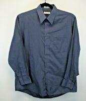 Pierre Cardin Long Sleeve Men's Large Button Up Shirt Dark Blue