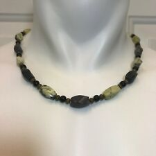 Mens Necklace of Yellow Turquoise, Black Obsidian and Bronze Tone Beads Handmade