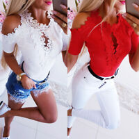 Women Ladies Cold Shoulder Lace T shirts Sexy Hollow Out Blouse Short Sleeve Top