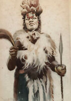 Hubert Whatley watercolor African ceremony, signed & inscribed to Aleko Lilius