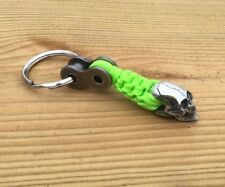 1LINK NEON GREEN HARLEY PARACORD WILLIE G MOTORCYCLE KEYCHAIN SOLID PEWTER SKULL