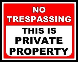NO TRESPASSING PRIVATE PROPERTY TRESPASS SECURITY METAL SIGN TIN WALL PLAQUE 263