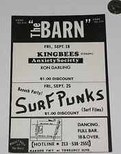 SURF PUNKS KING BEES ANXIETY SOCIETY RON DARLING PUNK CONCERT FLYER Poster lp 45