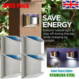 Super Bright 4 LED Solar Powered Wall Light Door Fence Outdoor Garden Lighting