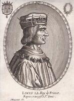 Portrait XVIIe Louis XII Roi France Naples Duc Milan Duc D'Orléans Moncornet