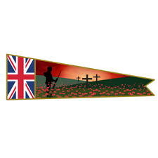 More details for  remembrance banner flag. lone soldier with union jack & poppies.lest we forget