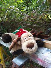 Holiday Christmas Moose Reindeer Plush Stuffed Animal With Red Green Scarf