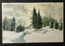 "MERRY CHRISTMAS Bringing Home Tree  in Snow 12x7.5"" Greeting Card Art #G5"