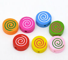 100 Perles Bois Motif Spirale Multicolore Ronde 16x16mm