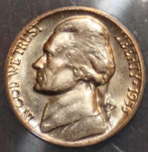 1955-D/S Jefferson Nickel - ANACS MS64 - (Key date variety)
