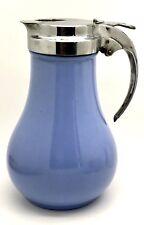 Vintage glass periwinkle blue syrup dispenser Pourer DRIPCUT CALIFORNIA POTTERY