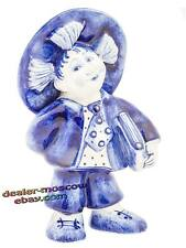 Porcelain Author Gzhel Hand Painted Figurine Russian Neznaika Nosov Fairy Tales