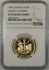 1983 Canada $100 Gold Commemorative Coin Gilbert's Landing NGC PF-69 Ultra Cameo