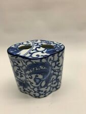 bath Blue white ceramic vines floral toothbrush holder