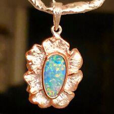 Vintage Victorian Natural Australian Opal Ladies Pendant Clam Shell Flower Style