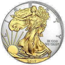 1 Unze Silber American Eagle 2017 USA vergoldet gilded