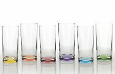 Set of 6pc Drinking Multicolored Highball Water Juice Cocktail Glass Boxed 295cc