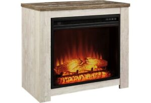 HARLINTON FIREPLACE MANTEL WITH FIREPLACE INSERT BY SIGNATURE DESIGN BY ASHLEY