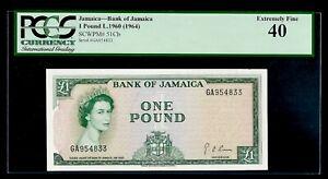 Jamaica 🇯🇲 1960 (1964) - £1 Pound Banknote P#51Cb - XF 40