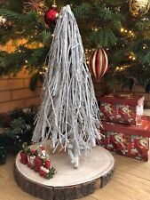 Rustic Twig Branch Christmas Tree White Wood Silver Glitter Table Top Decoration