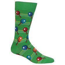 $30 HOT SOX Mens 1 PAIR DRESS CASUAL CREW SOCKS Ping Pong Green Cotton SHOE 6-12