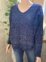 Pink Rose Blue Oversize Cozy Sweater Open Knit Pullover Size S