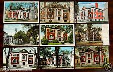 9 Postcards Public Library & South Main Rochester New Hampshire NH 1906-1946 lot